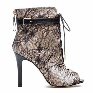 Lace open toe booties - US 8